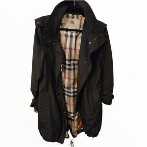 Burberry Hooded Black Trench Coat sz 8